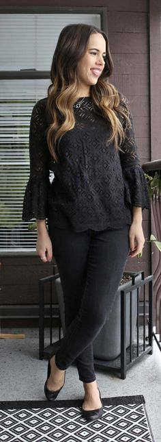 Jules in Flats - H&M Bell Sleeve Blouse + Old Navy Rockstar Skinny Jeans