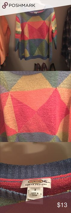 !!!CYBER MODAY DEAL!!! Vintage Geometric Sweater🔸 super awesome vintage sweater in perfect condition💛 bright colors and good for the winter season.. Has cropped sleeves! Fits like a medium or large. Comment if you would like to know anything about this listing!! Thanks for checking out my closet! Vintage Sweaters Crew & Scoop Necks