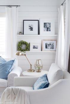 Wall Ledge Ideas | Ledge Shelf Décor | Ledge Shelves | Shiplap Wall Living Room | Slipcovered White Couches | Farmhouse Living Room Decor
