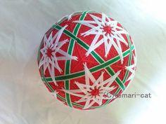 てまり「白聖夜(ホワイト・クリスマス)」赤地 手まり 手毬 手鞠