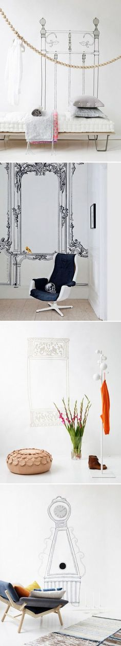 Customize your white walls w/ a SHARPIE! Some pros give here a lesson that with a white wall, a sharpened pencil or sharpie pen and a good dose of creativity, you can be your own Picasso. And remember, don't freak out, as long as you have a leftover can of the wall paint [always test that it is still usable before starting your project], covering up your Picasso moment is as easy as a fresh coat of paint.