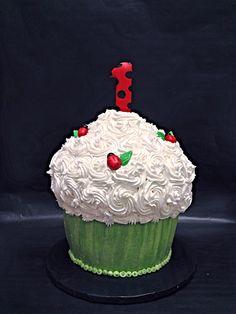 Ladybug Smash Cake Cupcake Jessica FitzPatrick Delaney 1st Birthday Ideas