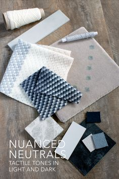 Nuanced neutrals are great for adding tactile tones to interiors. This sample board brings together some of our rugs and fabric samples; Grand Havre Rug, Plain Wools and Ecru. Textile Design, Fabric Design, Modern Rugs Uk, Neutral Color Scheme, Decorative Cushions, Fabric Online, Fabric Samples, Soft Furnishings, Interior Inspiration