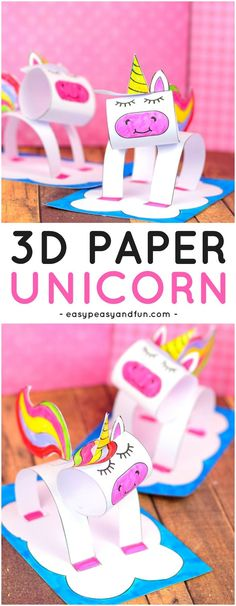 3D Construction Paper Unicorn Craft for Kids. A super fun paper craft idea for kids to make. #papercraftsforkids #craftsforkids #unicorncraftsforkids
