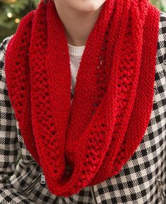 Free Knitting Pattern for Easy Lace and Garter Stitch Infinity Scarf - This easy Christmas Cowl infinity scarf features panels of easy lace and garter stitch. Designed by Christine Marie Chen for Red Heart