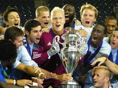 Sporting KC Captain Jimmy Nielsen holding the US Open Cup.  Sporting KC won 1-1 (3-2 pk).  #paintthewall