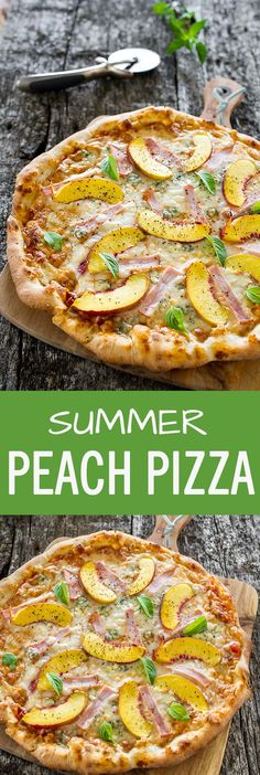 Delicious Summer pizza recipe, featuring Gorgonzola cheese and Canadian back bacon on a delicious thin crust made from scratch, topped with peach slices.