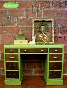 ART IS BEAUTY: THINK SPRING! Green Vintage Waterfall Desk Painted Makeover