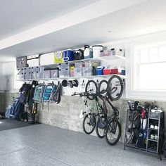 storage organization garage workshop solve problems without problems Garage House, Garage Shed, Garage Workshop, Garage Into Room, Dream Garage, Storing Bikes In Garage, Bike Racks For Garage, Garage Organization Tips, Garage Storage Solutions