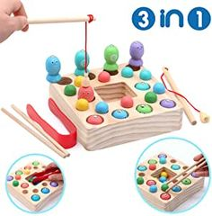 Montessori Toys for Toddlers Wooden Fishing Game Fine Motor Skill Learning Magnet Fishing Pole Clamp Chopsticks 10 Fishes & Beads Preschool Math Education Gift for Kids Child Age 3 4 5 6 Year Old Montessori Toddler, Montessori Toys, Toddler Preschool, Toddler Toys, Kids Toys, Learning Colors, Learning Toys, Early Learning, Magnet Fishing