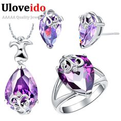 Find More Jewelry Sets Information about Silver 925 Bridal Women Purple Blue Water Drop Flower Girl Jewelry Sets Wedding Earrings Necklace Rings Bijuterias Ulove T080,High Quality jewelry vault,China jewelry pad Suppliers, Cheap jewelry rack from ULOVE Fashion Jewelry on Aliexpress.com