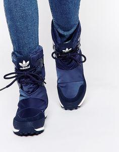 $108 SIZE 9. Image 1 of adidas Originals Snowrush Navy Snow Boots