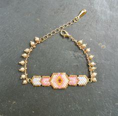 Bracelet doré chaîne perlée Miyuki : Bracelet par perlette-et-plumette