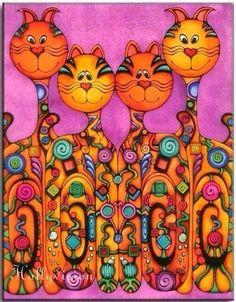 4 gatos colores