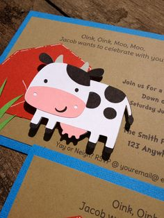 Barnyard Farm Party Invitations Cow Pig Barn Birthday