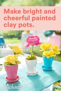 Diy Crafts To Do, Fun Crafts For Kids, Summer Crafts, Flower Pot Crafts, Clay Pot Crafts, Flower Pots, Flowers, Painted Clay Pots, Dollar Tree Decor