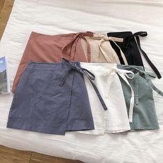 0e411a202 2019 Summer Women Cotton Linen Skirt Wrap Skirt For Women High Waist Mini  Skirts Spodnice Damskie