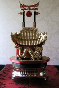 Chinese Pagoda wedding cake in Chocolate Truffle.