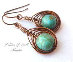 Wire wrapped earrings / wire wrapped jewelry handmade / wire jewelry / copper jewelry / Turquoise magnesite / earthy jewelry / boho earrings...