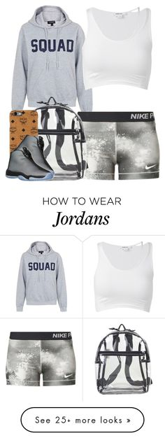 """Untitled #772"" by cjasmyne on Polyvore featuring Topshop, NIKE, MCM and Helmut Lang"