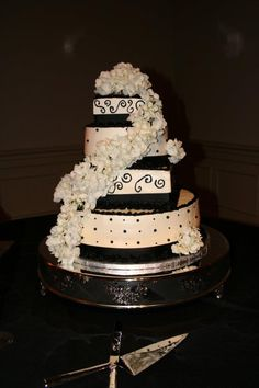 black and white wedding cake    Flour Power Cafe & Bakery San Antonio