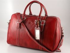 RED ITALIAN LEATHER DUFFEL DUFFLE TRAVEL BAG MADE IN ITALY (TL1014RED) $225.0