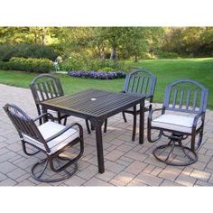 Oakland Living Rochester 5-Piece Swivel Patio Dining Set with Cushions 6135-6128-9-HB at The Home Depot - Mobile