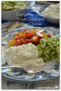 An Irish Lunch: Courgettes with Grape Tomato Salad and Cottage Cheese
