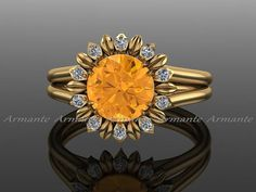 Wedding Ring Sunflower Ring, Engagement Ring, Citrine and Diamond Flower Ring, Yellow Gold Wedding Ring by Armante on Etsy - Beautiful Wedding Rings, Gold Wedding Rings, Wedding Jewelry, Perfect Wedding, Dream Wedding, Diamond Flower, Halo Diamond, Diamond Rings, Sunflower Ring