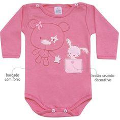 Body Feminino para Bebê Ursinha Pink - Patimini :: 764 Kids   Roupa bebê e infantil