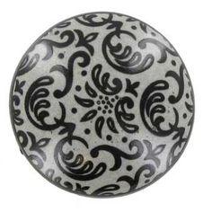 Gray & Black Damask Ceramic Knob