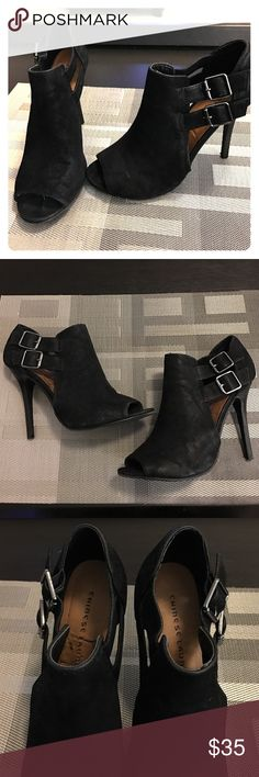 """Chinese Laundry Peep Toe Heels  Worn one time, excellent almost like new condition - suede, cute buckles, size 9 with a 4"""" heel ❤️‼️ Chinese Laundry Shoes Heels"""