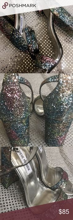 Steve Madden Glitter Multi-block heels! Worn only once! These beautiful glitter block heels from Steve Madden are 4 inches and fits true to size! *NO TRADES* Steve Madden Shoes Heels