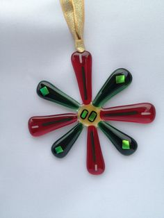 Fused Glass Ornament  Holiday Star by SmudgePotz on Etsy, $12.00