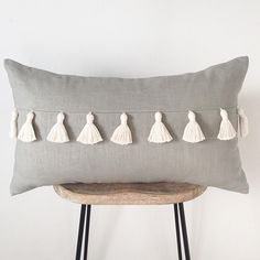 Gray Lumbar Throw Pillow with Tassels | Pillow Cover | Farmhouse Decor