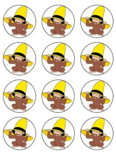 12 Curious George Edible Cupcake Images 2                                                                                                                                                                                 Más