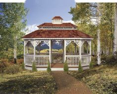 Vinyl Gazebo in Backyard- We delivery fully assembled gazebos throughout eastern Ontario and Quebec. Visit us online for fully price list ncsshelters.com