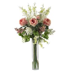 Rose, Delphinium and Lilac Silk Flower Arrangement by Nearly Natural. $130.00