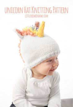 Knit this fun and magical unicorn hat for your baby or toddler with this cute knitting pattern!