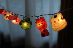 20 mulberry paper animal zoo cow frog turtle set string light handmade kid room bedroom stran light decor.