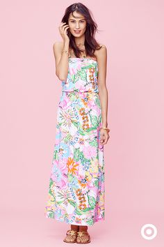 Go the distance with a strapless maxi and take this floral Lilly Pulitzer Target print to the beach or streets. Collection launches April 19.