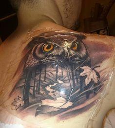 bagoly tetoválás, erdő, fa, levél.