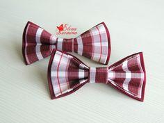 Купить Бабочка галстук в бордовую клетку - бордовый, в клеточку, галстук-бабочка, галстук бабочка женский