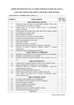 Lista de cotejo 3, 4 y 5 años