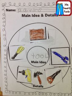 This is a great hands-on activity that can be used to find the main idea. The acitivity uses a circle map and pictures (details) so that the students can come up with a main idea. Reading Strategies, Reading Skills, Reading Comprehension, Reading Lessons, First Grade Reading, First Grade Classroom, Future Classroom, Classroom Decor, Kindergarten Reading