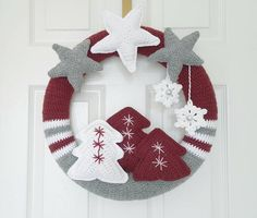 Excited to share the latest addition to my #etsy shop: Handmade crochet Christmas wreath - Scandinavian http://etsy.me/2hOe0A1 #housewares #homedecor #red #christmas #gray #entryway #wreath #stars #christmastree