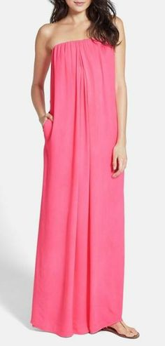 Go with the flow - strapless maxi dress