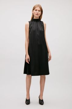 COS image 1 of Dress with gathered high-neck in Black