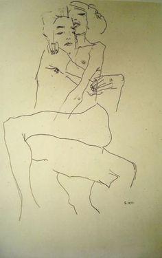 Egon Schiele. Couple embracing 1911