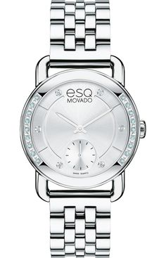 Esq Classica - Women's ESQ Classica watch, 30 mm round stainless steel case with 20 slightly smoked-white diamonds and U-shaped lugs, silver-toned dial with matching hands, 6 diamond markers and small seconds subdial, (0.109 t.c.w. diamonds), stainless steel link bracelet with push-button deployment clasp, Swiss quartz movement, mineral crystal, water resistant to 30 meters.